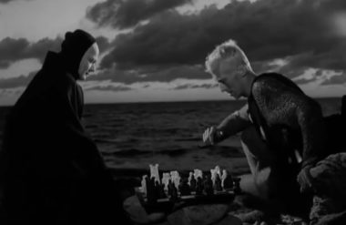 "Death plays chess with a mortal in ""The Seventh Seal"" film"